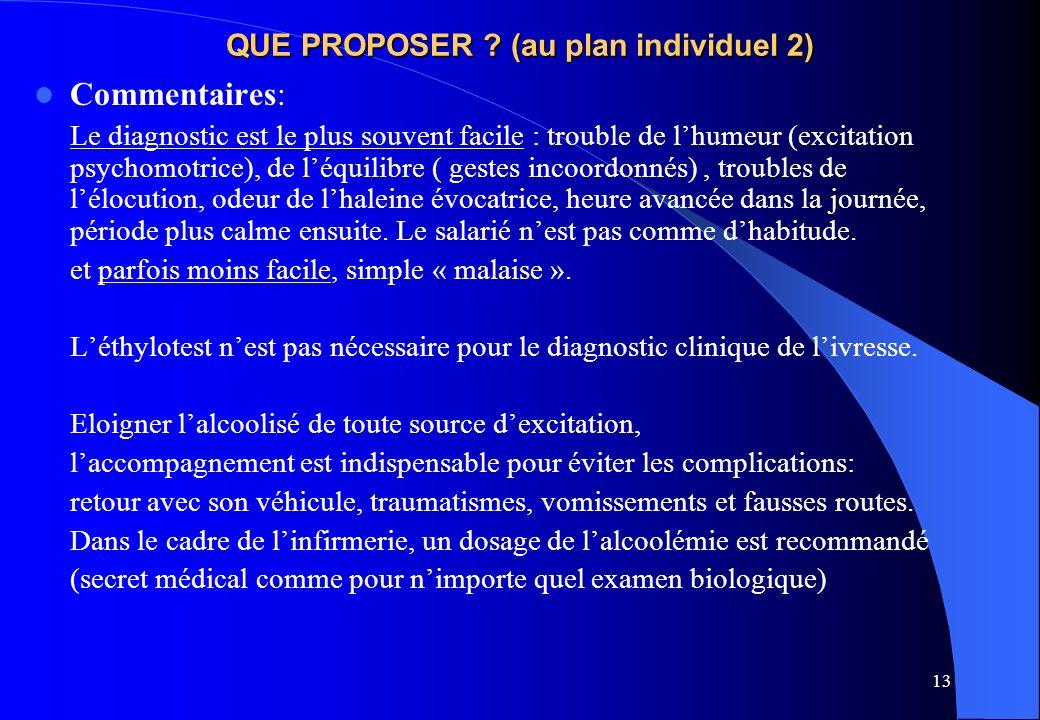13 QUE PROPOSER ? (au plan individuel 2) Commentaires: Le diagnostic est le plus souvent facile : trouble de lhumeur (excitation psychomotrice), de lé