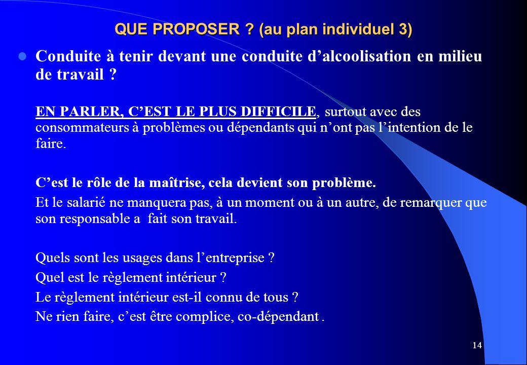 14 QUE PROPOSER ? (au plan individuel 3) Conduite à tenir devant une conduite dalcoolisation en milieu de travail ? EN PARLER, CEST LE PLUS DIFFICILE,