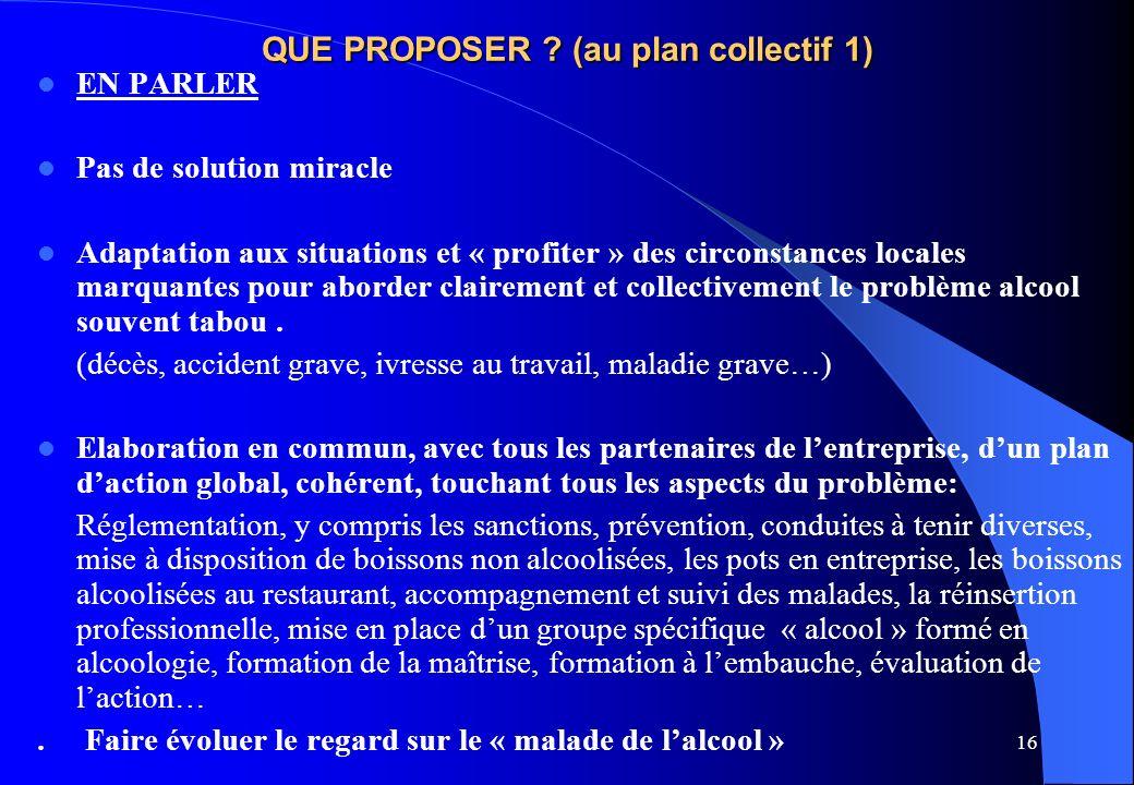 16 QUE PROPOSER ? (au plan collectif 1) EN PARLER Pas de solution miracle Adaptation aux situations et « profiter » des circonstances locales marquant