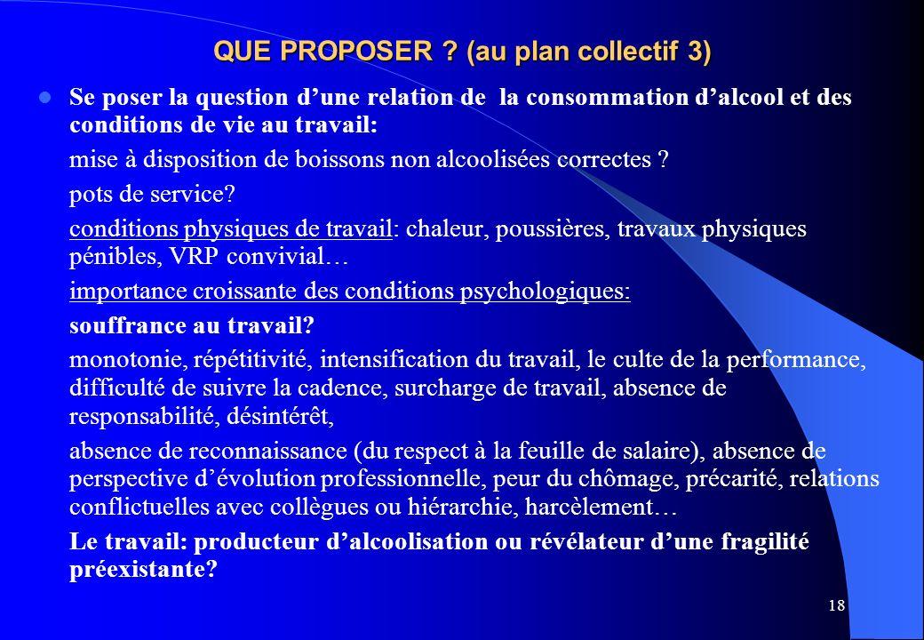 18 QUE PROPOSER ? (au plan collectif 3) Se poser la question dune relation de la consommation dalcool et des conditions de vie au travail: mise à disp