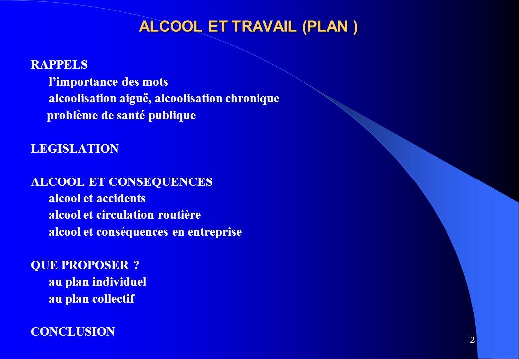 3 ALCOOL ET TRAVAIL ( importance des mots) On ne parle plus dalcoolique (trop dévalorisant) La dernière terminologie (internationale) – Non usage : absence de consommation, primaire ou secondaire:abstinence – Usage : consommation modérée < 4 U.I.A./jour pour lhomme < 2 U.I.A./jour pour la femme U.I.A.= Unité Internationale dAlcool = 1 verre standard = 10 g dalcool pur -- Mésusage : usage à risques : > doses indiquées ci-dessus, en labsence de maladie observable Lusage à risques existe pour des seuils inférieurs si situation à risques (conduite automobile ou engin de manutention par exemple) Usage nocif : pas de dépendance et au moins un désordre médical, psychique ou social (pas de notion de dose) Usage avec dépendance : perte de la maîtrise de la consommation.