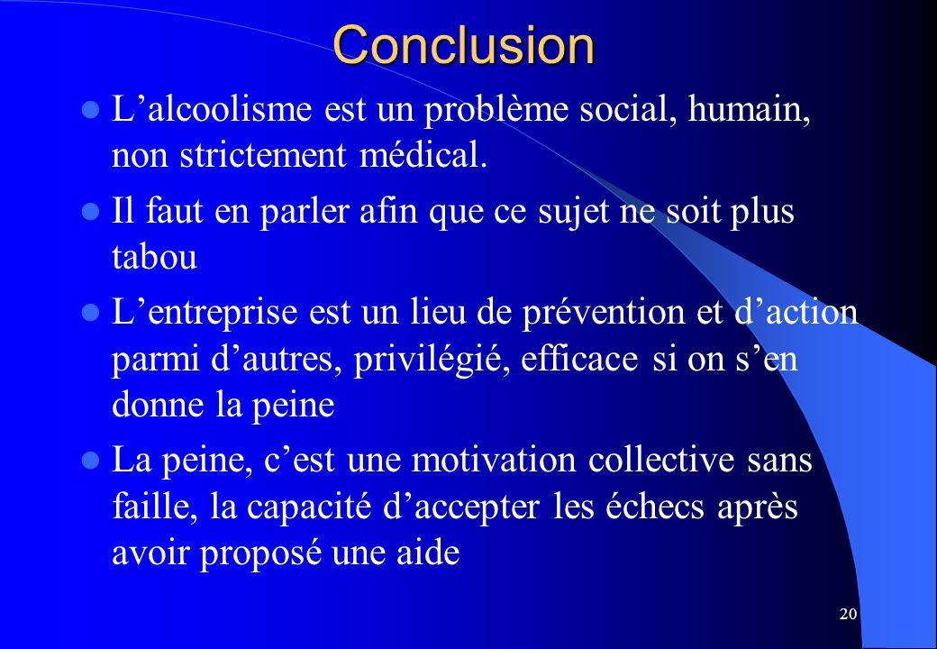 20Conclusion Lalcoolisme est un problème social, humain, non strictement médical. Il faut en parler afin que ce sujet ne soit plus tabou Lentreprise e