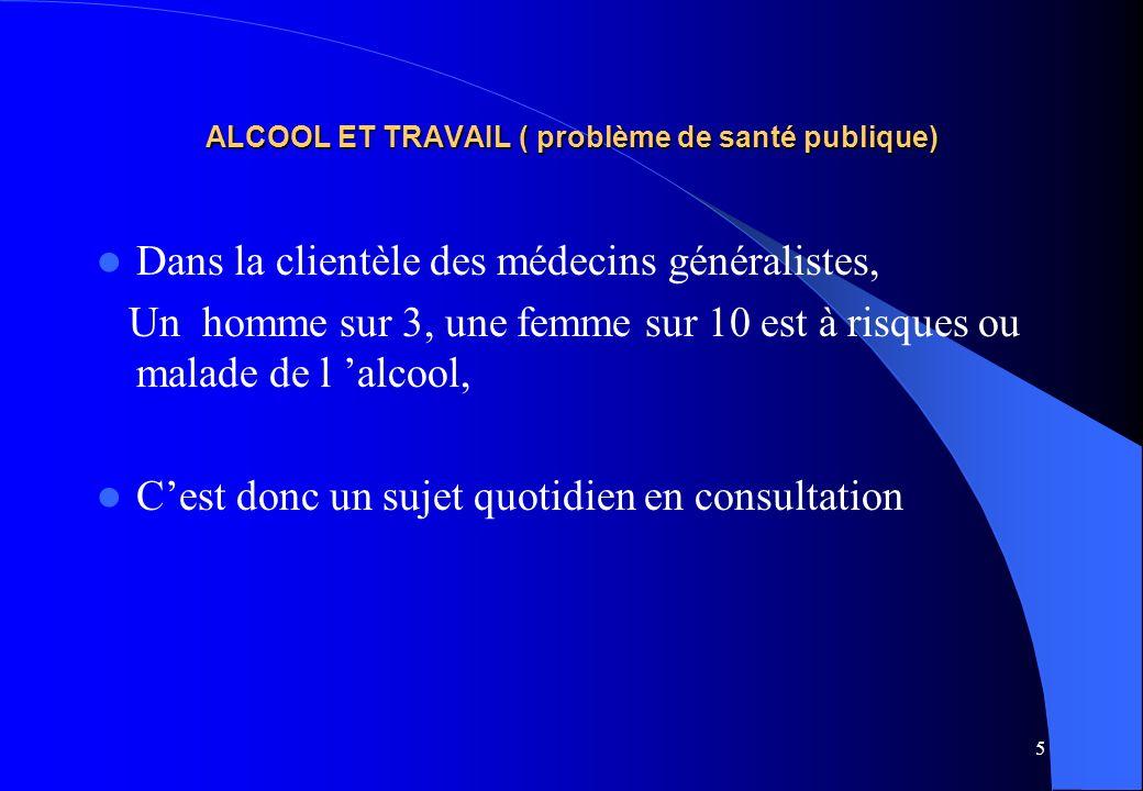 5 ALCOOL ET TRAVAIL ( problème de santé publique) Dans la clientèle des médecins généralistes, Un homme sur 3, une femme sur 10 est à risques ou malad