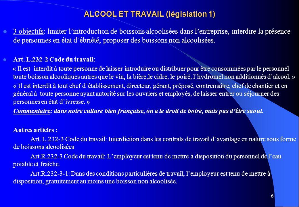 6 ALCOOL ET TRAVAIL (législation 1) 3 objectifs: limiter lintroduction de boissons alcoolisées dans lentreprise, interdire la présence de personnes en