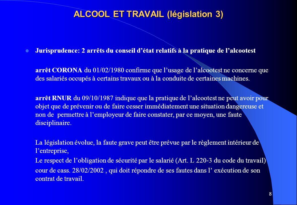 8 ALCOOL ET TRAVAIL (législation 3) Jurisprudence: 2 arrêts du conseil détat relatifs à la pratique de lalcootest arrêt CORONA du 01/02/1980 confirme