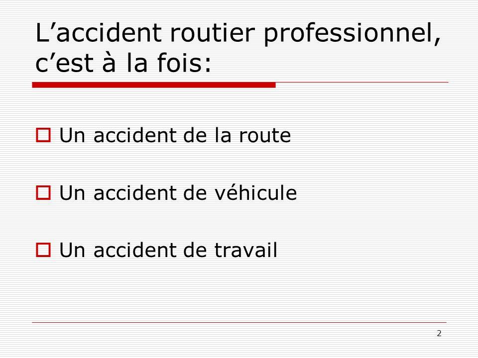 2 Laccident routier professionnel, cest à la fois: Un accident de la route Un accident de véhicule Un accident de travail