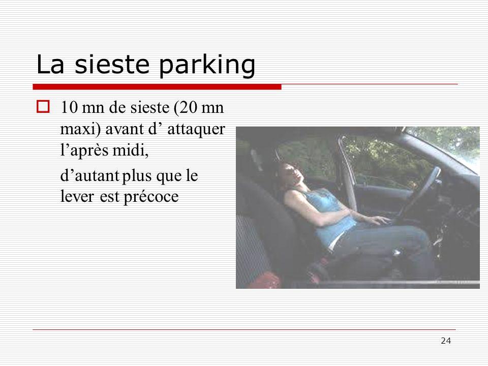 24 La sieste parking 10 mn de sieste (20 mn maxi) avant d attaquer laprès midi, dautant plus que le lever est précoce