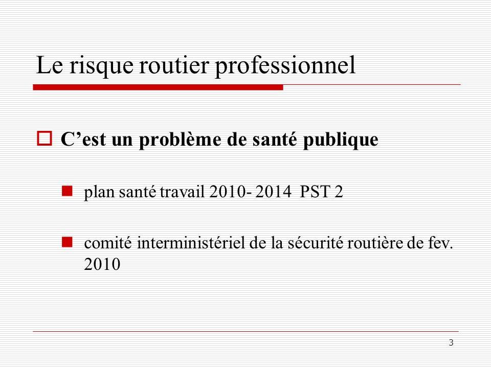 3 Le risque routier professionnel Cest un problème de santé publique plan santé travail 2010- 2014 PST 2 comité interministériel de la sécurité routiè