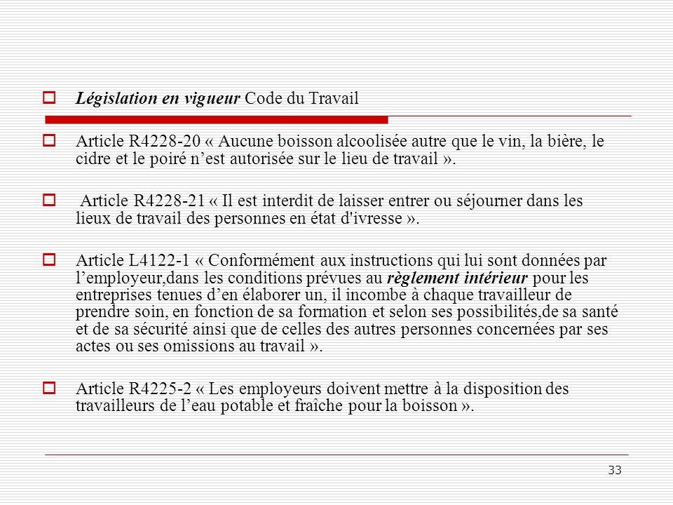33 Législation en vigueur Code du Travail Article R4228-20 « Aucune boisson alcoolisée autre que le vin, la bière, le cidre et le poiré nest autorisée