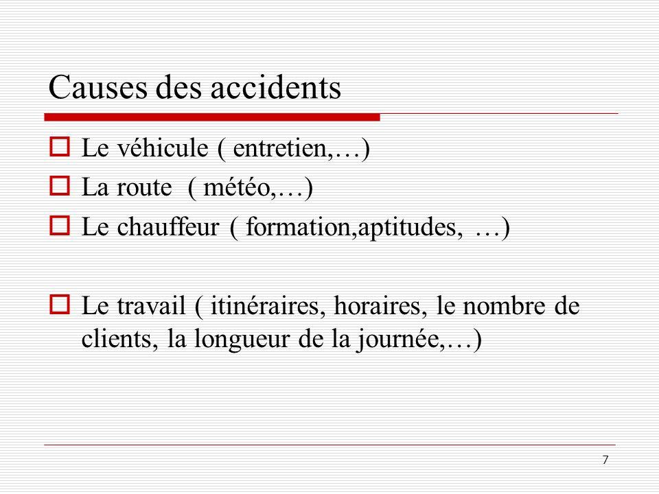 7 Causes des accidents Le véhicule ( entretien,…) La route ( météo,…) Le chauffeur ( formation,aptitudes, …) Le travail ( itinéraires, horaires, le no