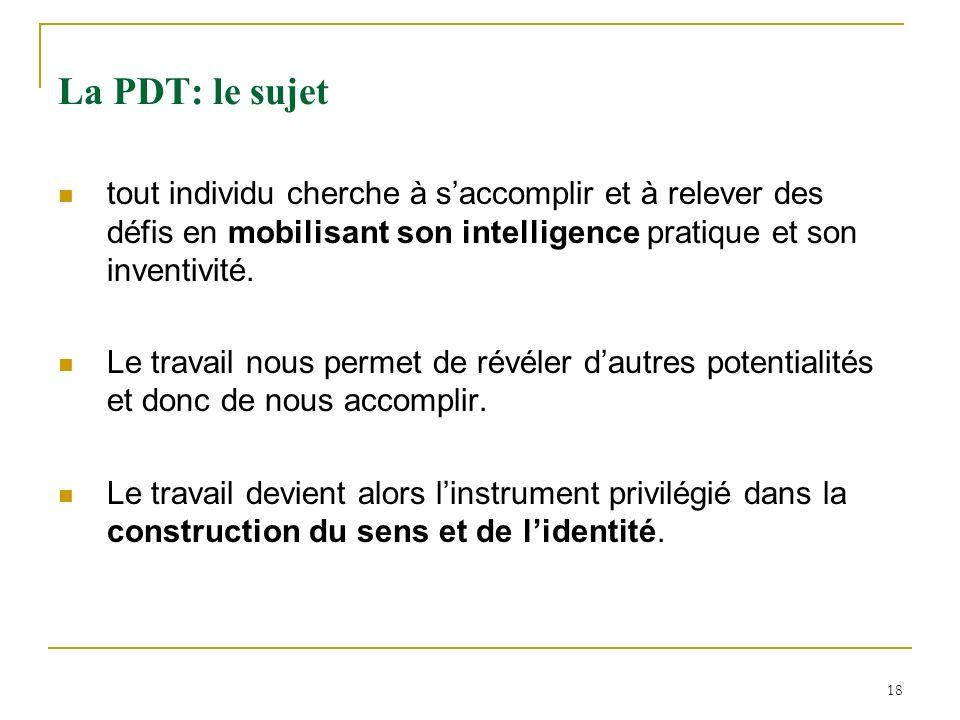18 La PDT: le sujet tout individu cherche à saccomplir et à relever des défis en mobilisant son intelligence pratique et son inventivité. Le travail n
