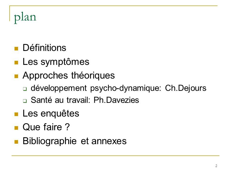 2 plan Définitions Les symptômes Approches théoriques développement psycho-dynamique: Ch.Dejours Santé au travail: Ph.Davezies Les enquêtes Que faire