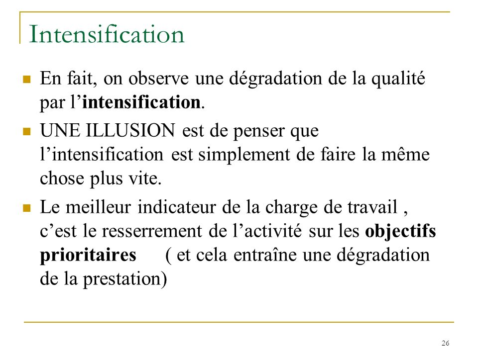 26 Intensification En fait, on observe une dégradation de la qualité par lintensification. UNE ILLUSION est de penser que lintensification est simplem