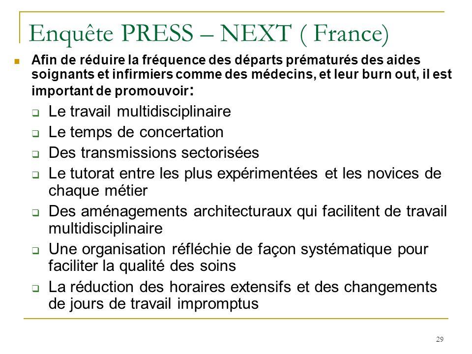 29 Enquête PRESS – NEXT ( France) Afin de réduire la fréquence des départs prématurés des aides soignants et infirmiers comme des médecins, et leur bu