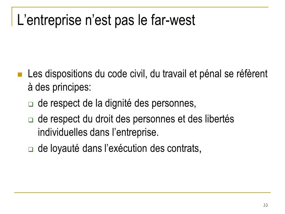 33 Lentreprise nest pas le far-west Les dispositions du code civil, du travail et pénal se réfèrent à des principes: de respect de la dignité des pers