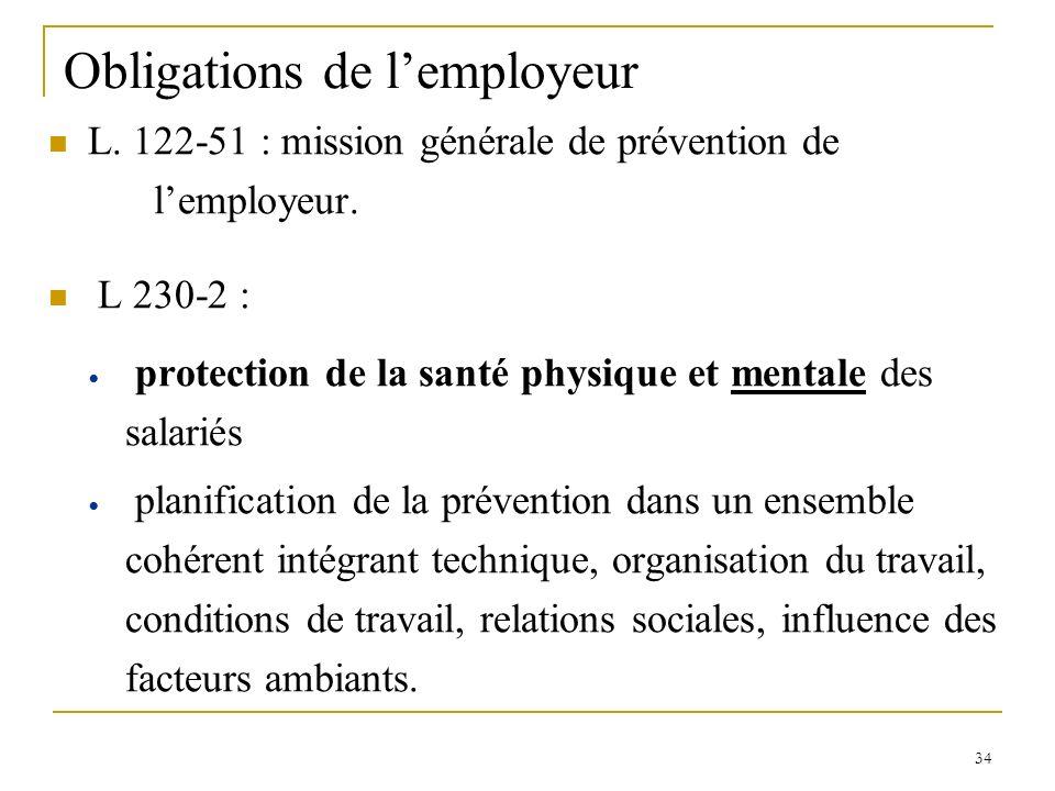 34 Obligations de lemployeur L. 122-51 : mission générale de prévention de lemployeur. L 230-2 : protection de la santé physique et mentale des salari