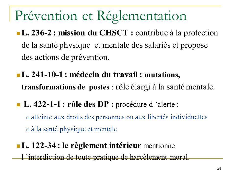 35 L. 236-2 : mission du CHSCT : contribue à la protection de la santé physique et mentale des salariés et propose des actions de prévention. L. 241-1