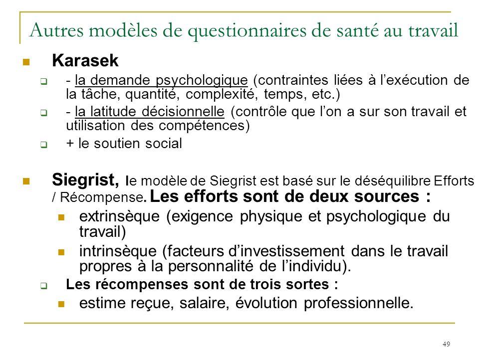 49 Autres modèles de questionnaires de santé au travail Karasek - la demande psychologique (contraintes liées à lexécution de la tâche, quantité, comp