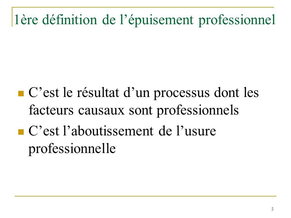 5 1ère définition de lépuisement professionnel Cest le résultat dun processus dont les facteurs causaux sont professionnels Cest laboutissement de lus