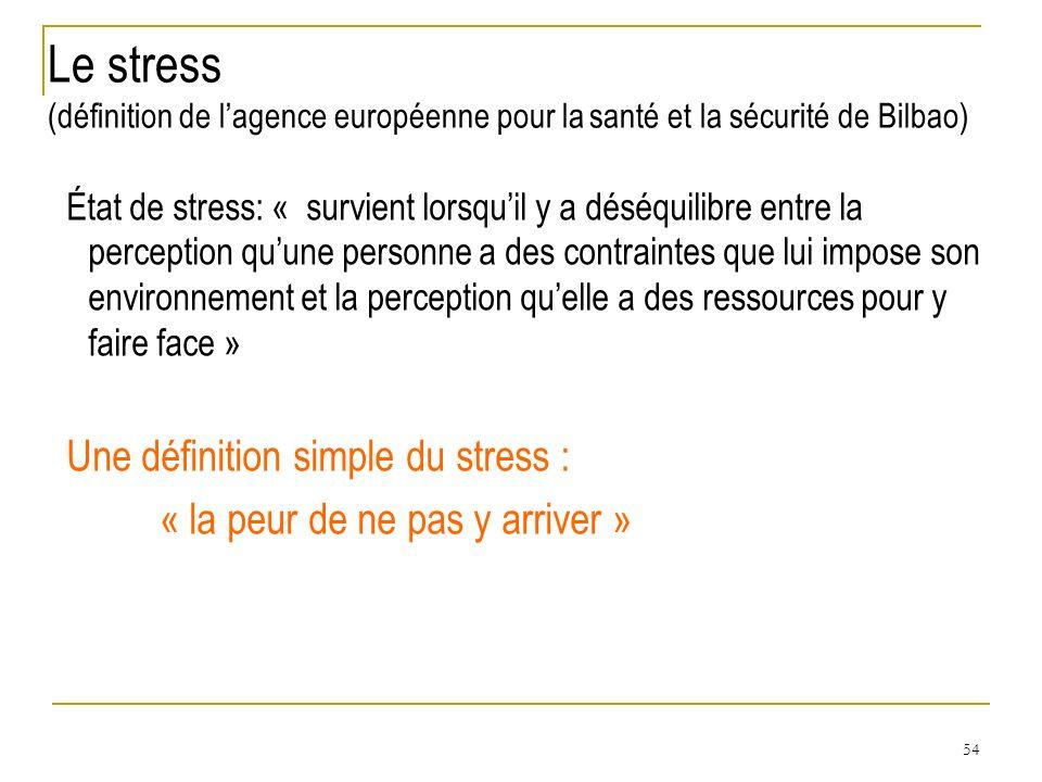 54 État de stress: « survient lorsquil y a déséquilibre entre la perception quune personne a des contraintes que lui impose son environnement et la pe