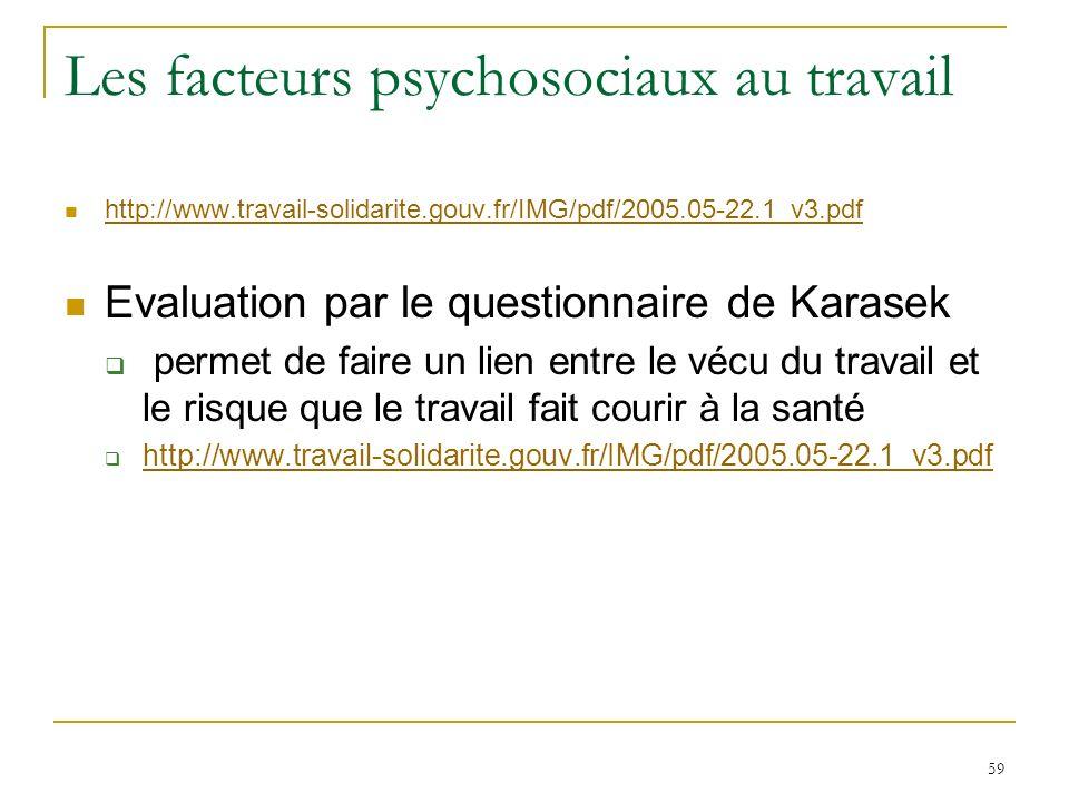 59 Les facteurs psychosociaux au travail http://www.travail-solidarite.gouv.fr/IMG/pdf/2005.05-22.1_v3.pdf Evaluation par le questionnaire de Karasek