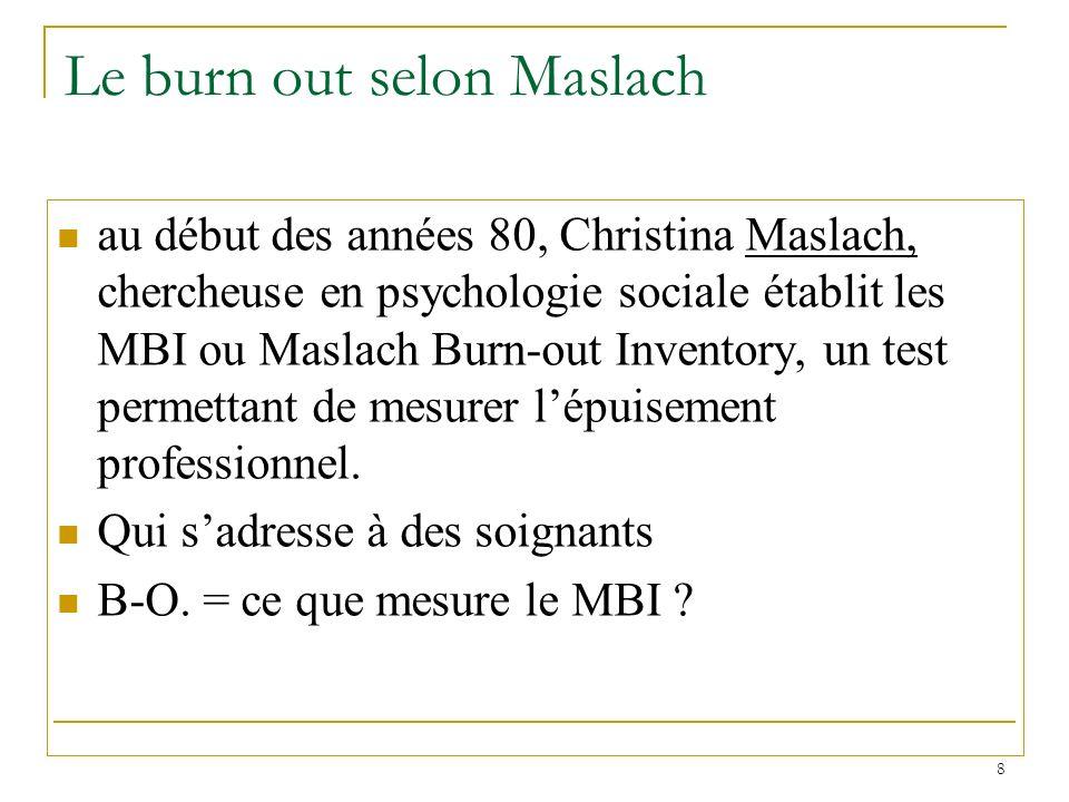 8 Le burn out selon Maslach au début des années 80, Christina Maslach, chercheuse en psychologie sociale établit les MBI ou Maslach Burn-out Inventory