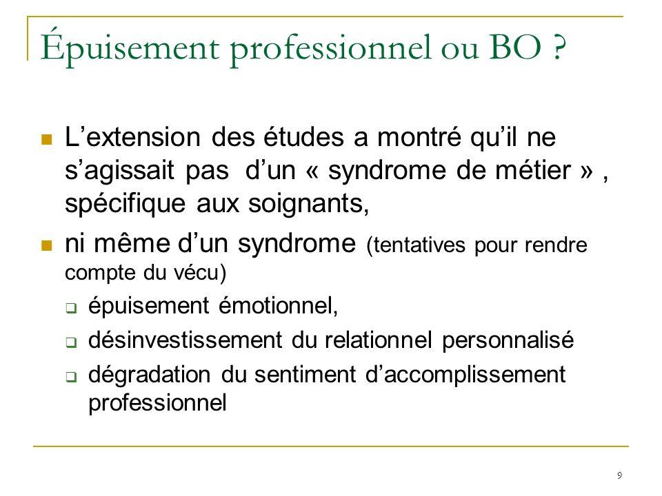 9 Épuisement professionnel ou BO ? Lextension des études a montré quil ne sagissait pas dun « syndrome de métier », spécifique aux soignants, ni même