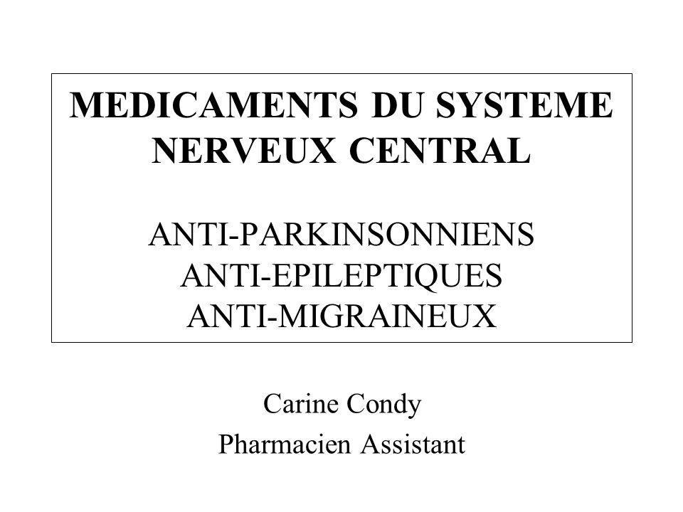Bloqueurs des canaux sodiques –Diminution de la dépolarisation des neurones Carbamazépine : Tégrétol Phénytoïne : Dihydan, Dilantin Bloqueurs des canaux calciques –Diminution du contrôle de lexcitabilité des neurones Éthosuximide : Zarontin (Absences) Interférences avec la neurotransmission –Système Gaba (système inhibiteur) Ouverture canaux CL- : Phénobarbital (Gardénal ) Inhibition du métabolisme du Gaba : Vigabatrin (Sabril ) Action du Valproate de sodium (Dépakine ) mal défini Augmentation de lactivité du GABA : topiramate Epitomax® Gabapentine : Neurontin® structure proche du GABA méca mal connu –Système glutamate (système excitateur) Diminution de la libération : Lamotrigine (Lamictal ) Mécanismes daction des anti-épileptiques