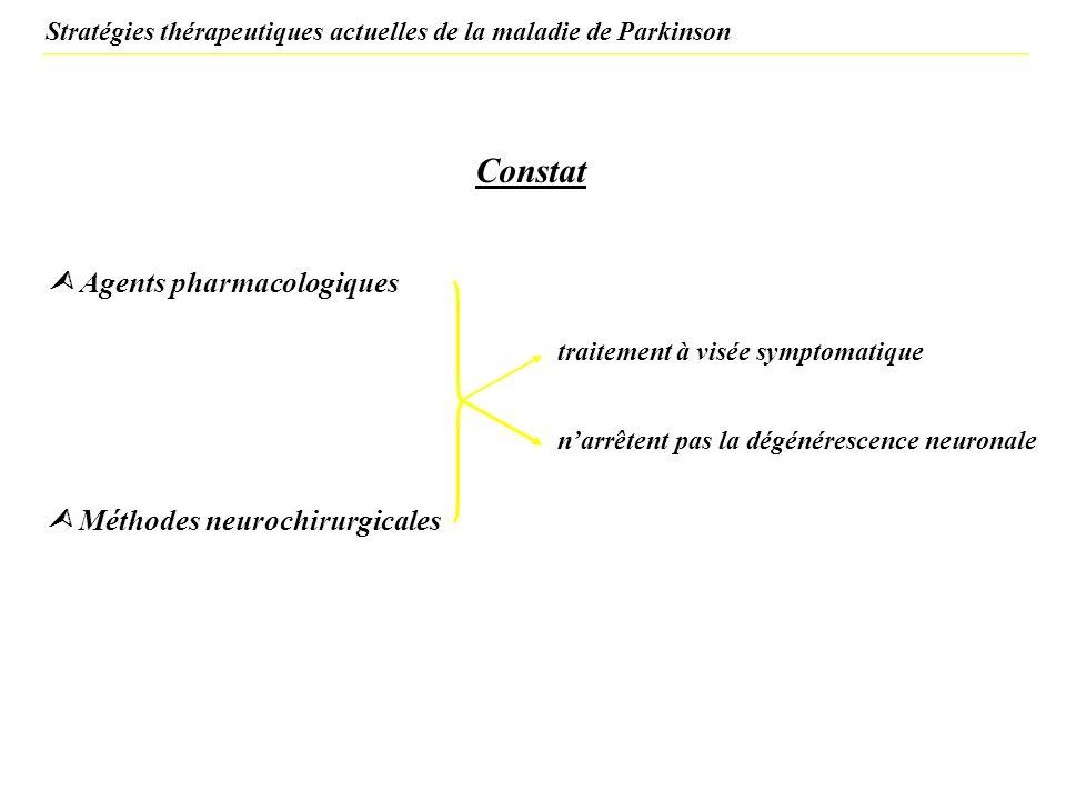 Constat traitement à visée symptomatique narrêtent pas la dégénérescence neuronale Stratégies thérapeutiques actuelles de la maladie de Parkinson Agen
