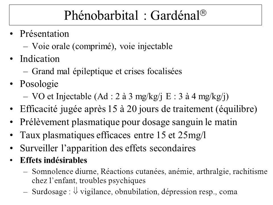Phénobarbital : Gardénal Présentation –Voie orale (comprimé), voie injectable Indication –Grand mal épileptique et crises focalisées Posologie –VO et