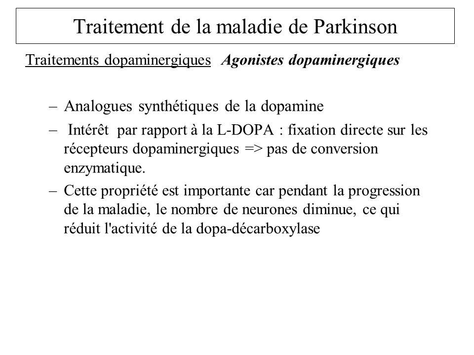 Traitements dopaminergiques Agonistes dopaminergiques Piribedil Trivastal® très utilisé en France efficacité surtout sur les tremblements Dérives de lErgot seigle : Lisuride : Dopergine, Bromocriptine : Parlodel, pergolide Celance® Les + récents : Ropinirole Requip®, pramipexole sifrol Amantadine : Mantadix moins utilisé Apomorphine : Apokinon forme injectable –Effets II aires identiques lévodopa, mais moins à long terme –CI des dérivés de lergot seigle HTA, artériopathie, S.