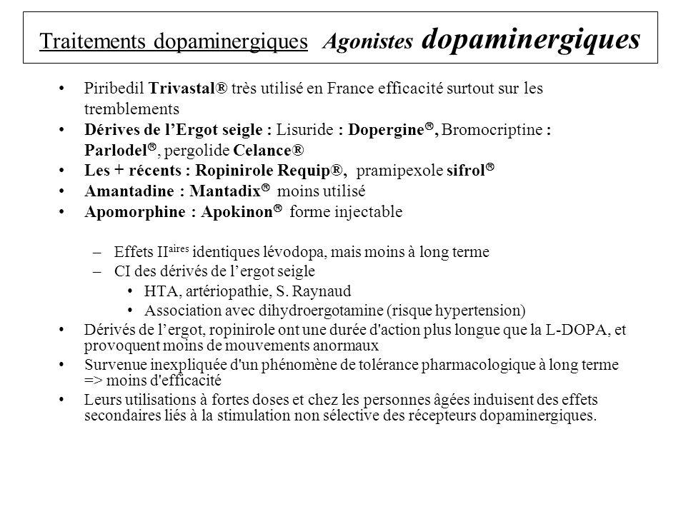 Antiparkinsoniens : Inhibiteurs du catabolisme de la dopamine Inhibe lenzyme qui dégrade la dopamine dans la synapse –Administration en Association avec la lévodopa Diminution de la dégradation de la dopamine formée Renforce leffet de la lévodopa 2 classes : 1/ Inhibiteur de la mono amine oxydase IMAO B Sélégiline : Déprényl 2 / Inhibiteur de la catéchol-O- méthyl transferase encacapone : Comtan®