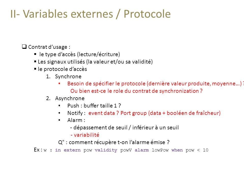 II- Variables externes / Protocole Contrat dusage : le type daccès (lecture/écriture) Les signaux utilisés (la valeur et/ou sa validité) le protocole