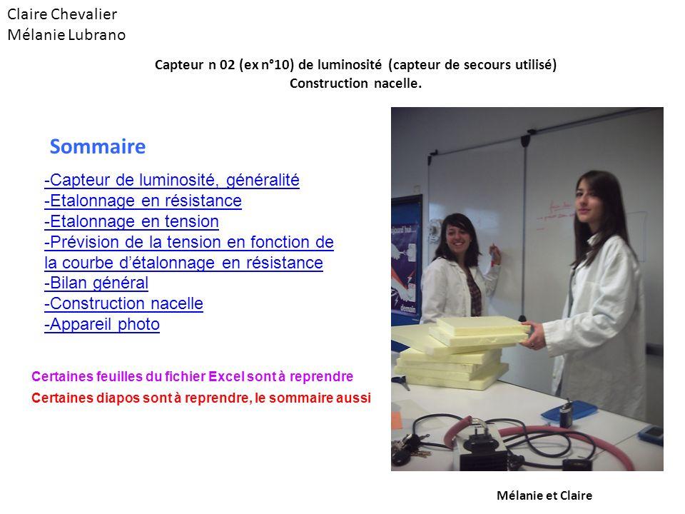 Claire Chevalier Mélanie Lubrano -Capteur de luminosité, généralité -Etalonnage en résistance -Etalonnage en tension -Prévision de la tension en fonct