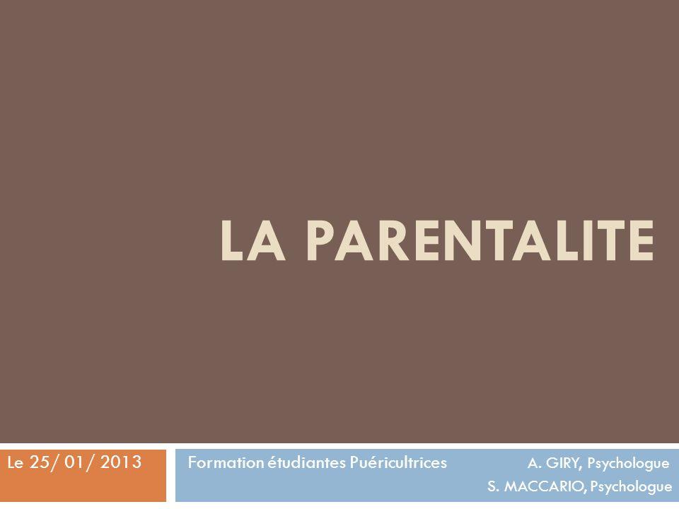 LA PARENTALITE Formation étudiantes Puéricultrices A.