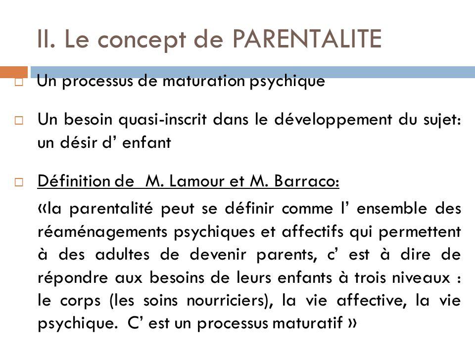 II. Le concept de PARENTALITE Un processus de maturation psychique Un besoin quasi-inscrit dans le développement du sujet: un désir d enfant Définitio
