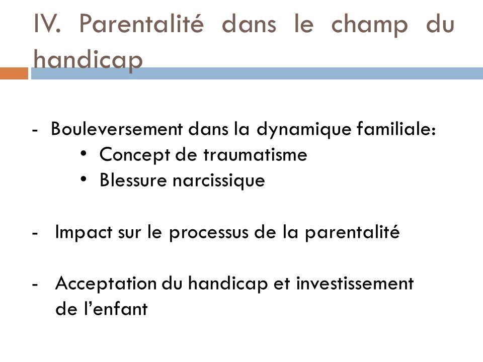 IV. Parentalité dans le champ du handicap -Bouleversement dans la dynamique familiale: Concept de traumatisme Blessure narcissique -Impact sur le proc