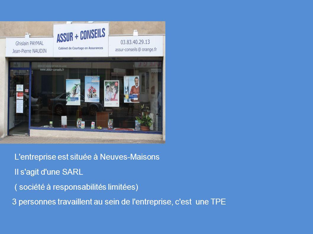 L'entreprise est située à Neuves-Maisons Il s'agit d'une SARL ( société à responsabilités limitées) 3 personnes travaillent au sein de l'entreprise, c