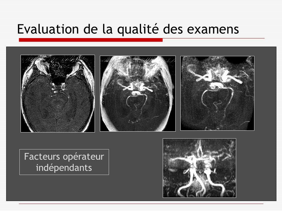 Evaluation de la qualité des examens Facteurs opérateur indépendants