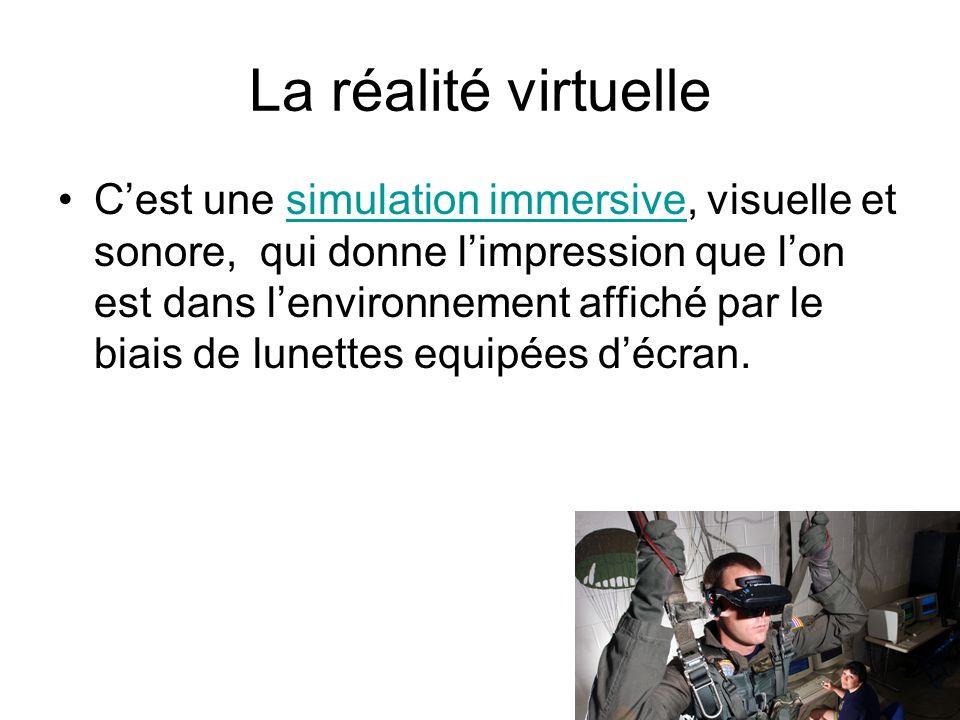 La réalité virtuelle Cest une simulation immersive, visuelle et sonore, qui donne limpression que lon est dans lenvironnement affiché par le biais de
