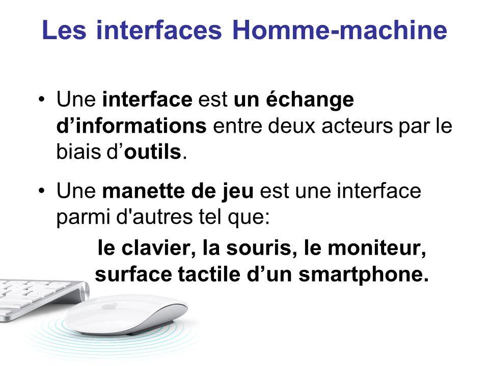 Une interface est un échange dinformations entre deux acteurs par le biais doutils. Une manette de jeu est une interface parmi d'autres tel que: le cl