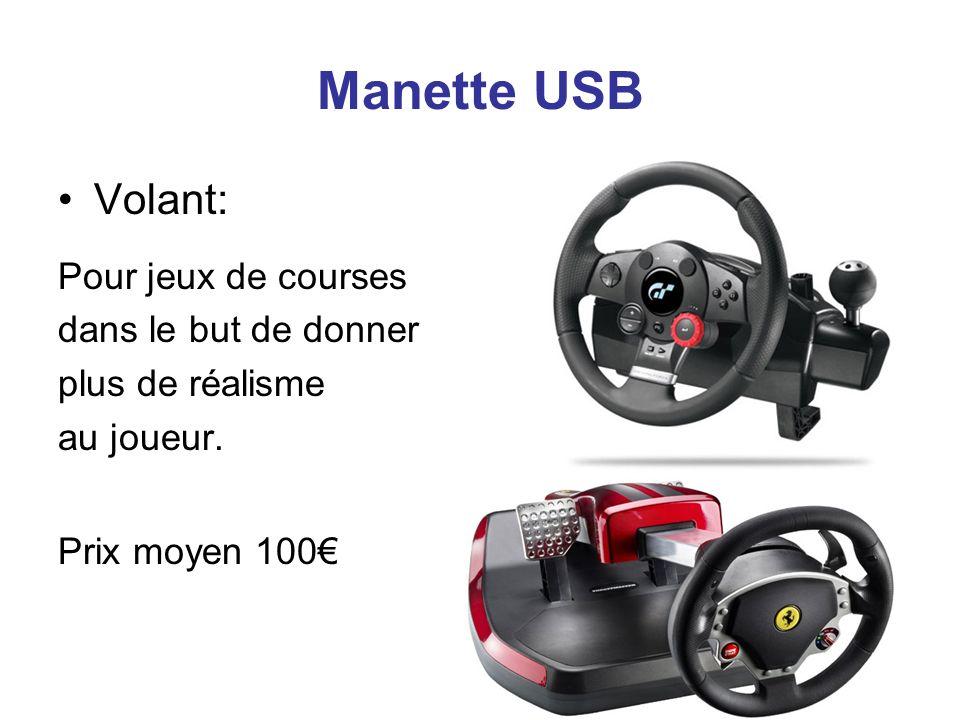 Manette USB Volant: Pour jeux de courses dans le but de donner plus de réalisme au joueur. Prix moyen 100