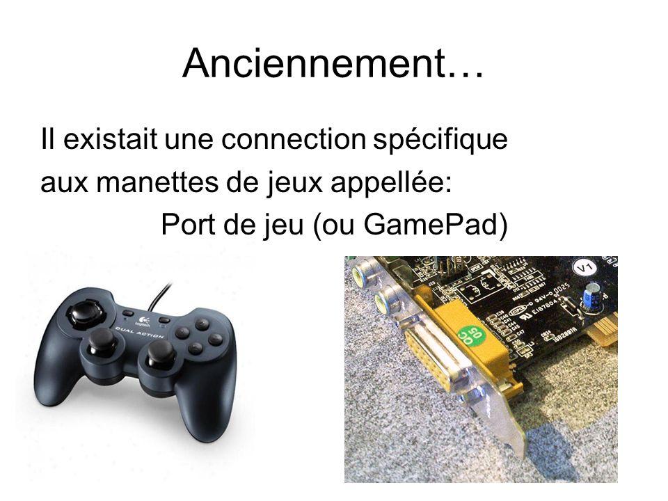 Anciennement… Il existait une connection spécifique aux manettes de jeux appellée: Port de jeu (ou GamePad)
