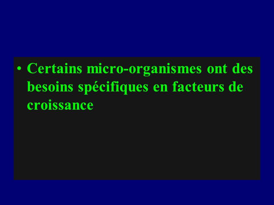 Certains micro-organismes ont des besoins spécifiques en facteurs de croissance