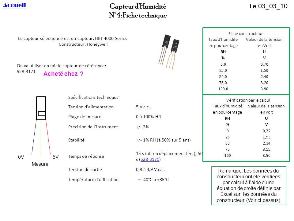 Capteur dHumidité N°4: Fiche technique Le capteur sélectionné est un capteur: HIH-4000 Series Constructeur: Honeywell On va utiliser en fait le capteu