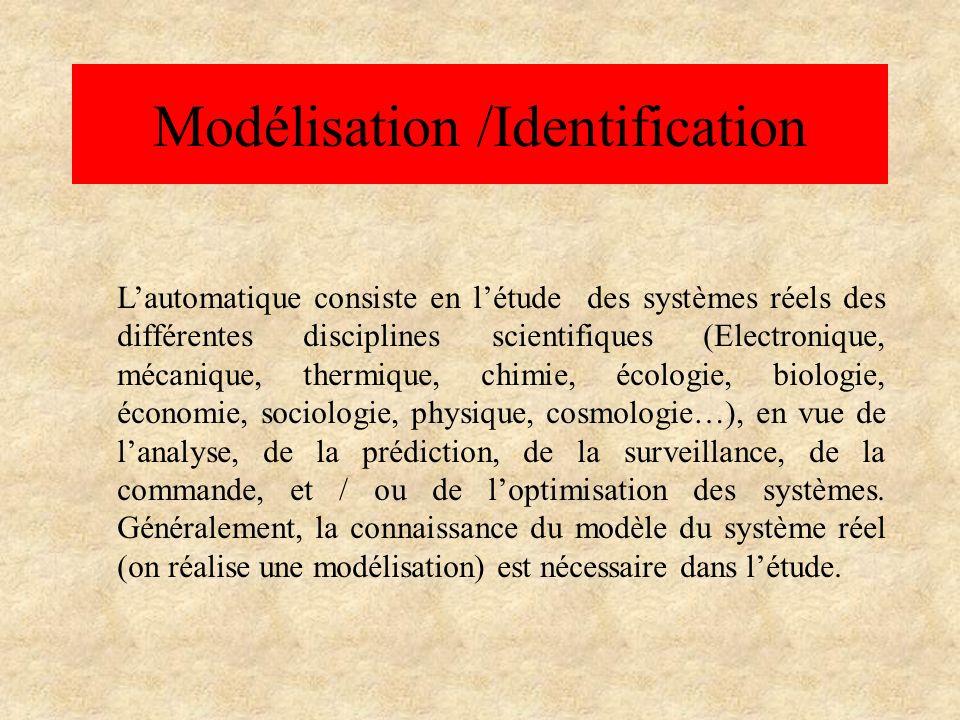 Modélisation /Indentification Identifier un processus (système), cest chercher un modèle (dynamique) mathématique, appartenant à une classe de modèles connue, et qui, soumis à des signaux tests (en entrée), donne une réponse (dynamique et statique en sortie), la plus proche possible du système réel.
