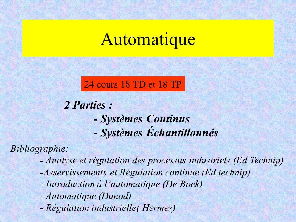 Automatique 2 Parties : - Systèmes Continus - Systèmes Échantillonnés 24 cours 18 TD et 18 TP Bibliographie: - Analyse et régulation des processus ind