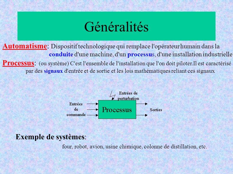 Généralités Exemple de systèmes: four, robot, avion, usine chimique, colonne de distillation, etc. Automatisme: Dispositif technologique qui remplace