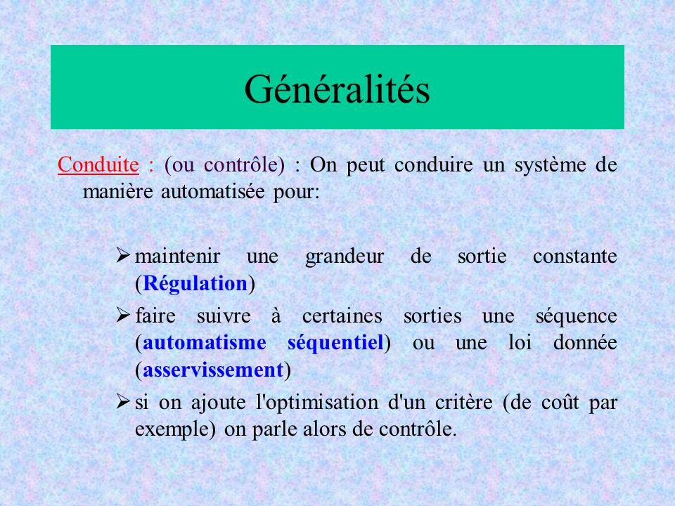 Généralités Conduite : (ou contrôle) : On peut conduire un système de manière automatisée pour: maintenir une grandeur de sortie constante (Régulation