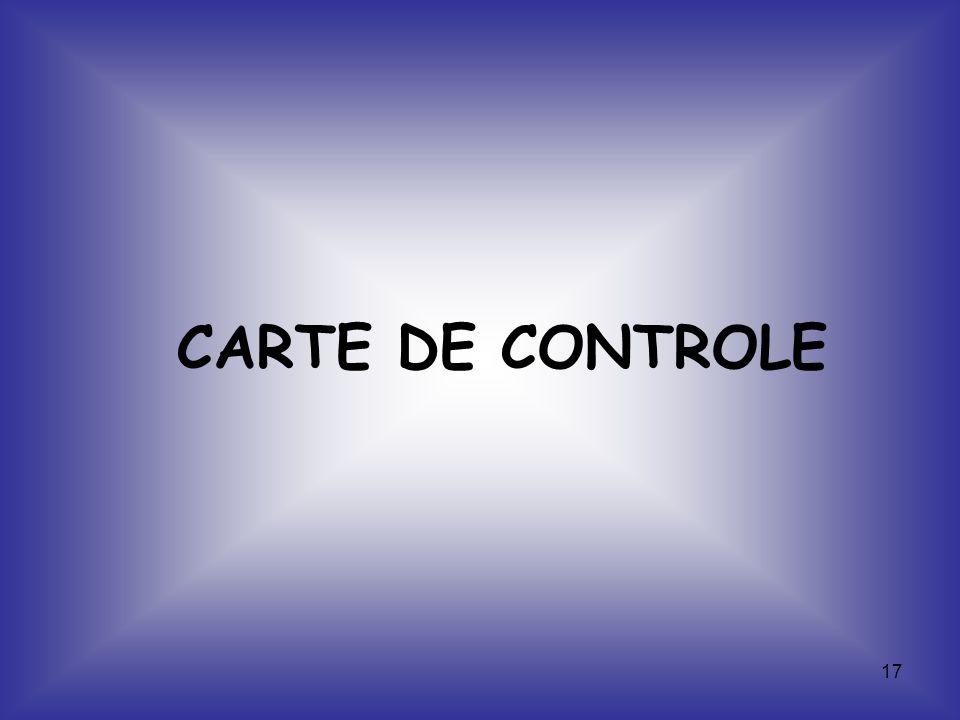 17 CARTE DE CONTROLE